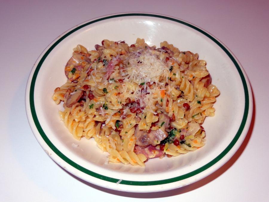 48 Linsen-Speck-Pilz-Pasta